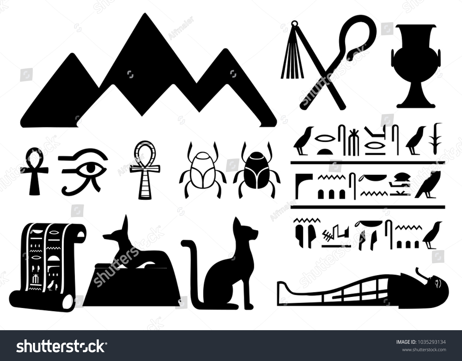 Black Silhouettes Ancient Egyptian Symbols Decoration Stock Vector