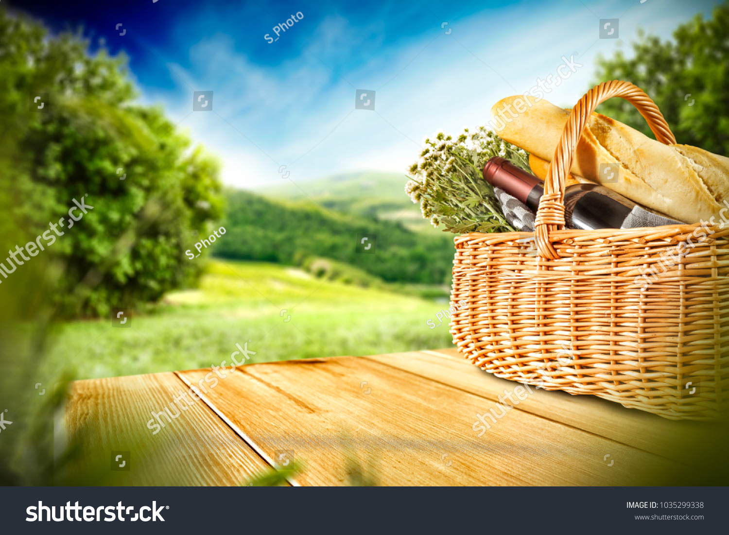 Picnic Basket On Wooden Table Free Stock Photo Edit Now 1035299338