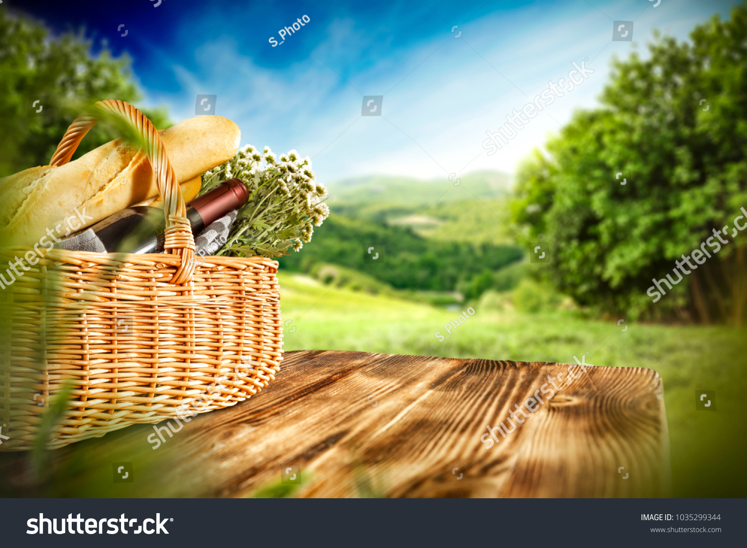 Picnic Basket On Wooden Table Free Stock Photo Edit Now 1035299344