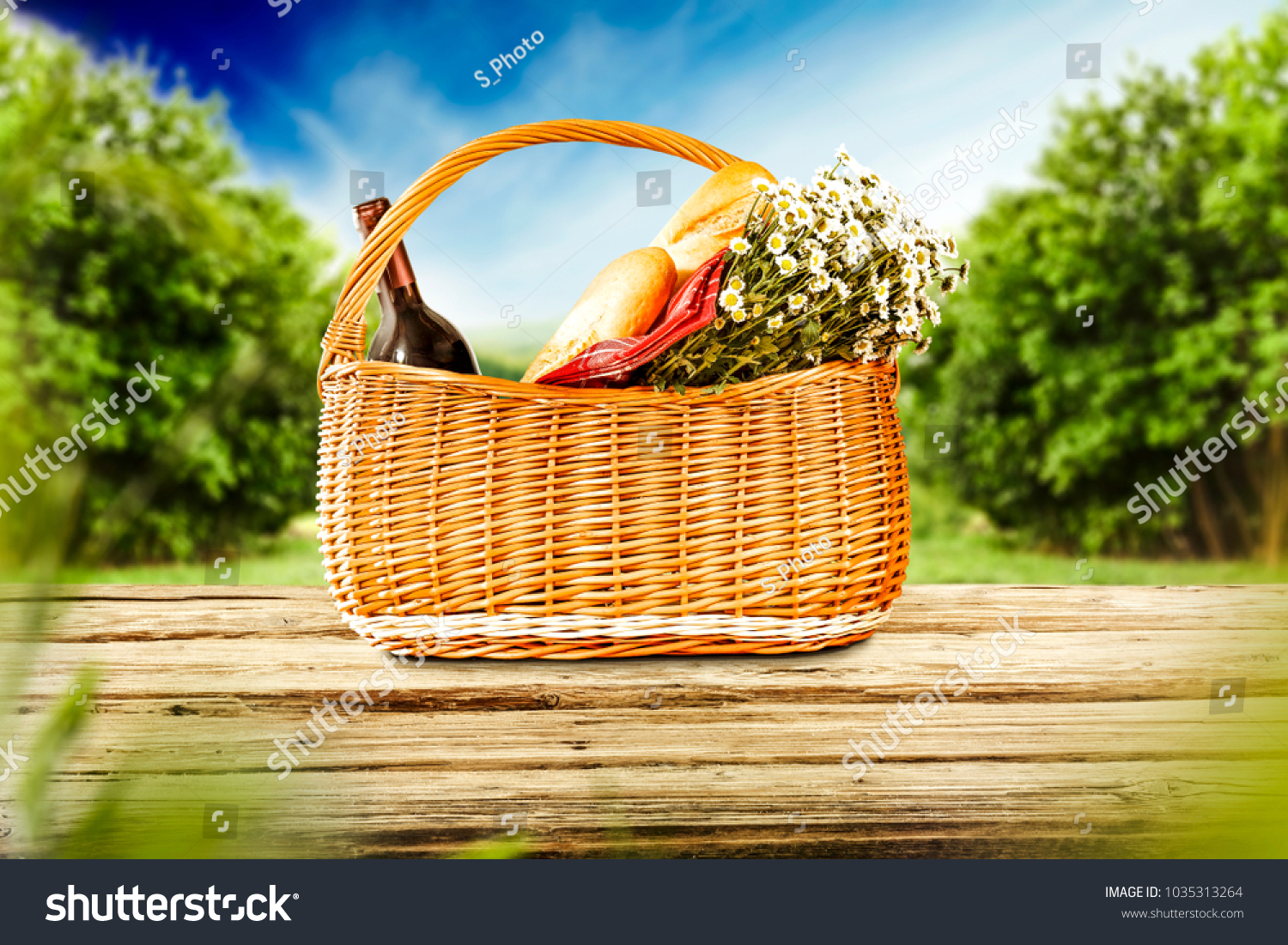 Brown Picnic Basket Food On Wooden Stock Photo Edit Now 1035313264