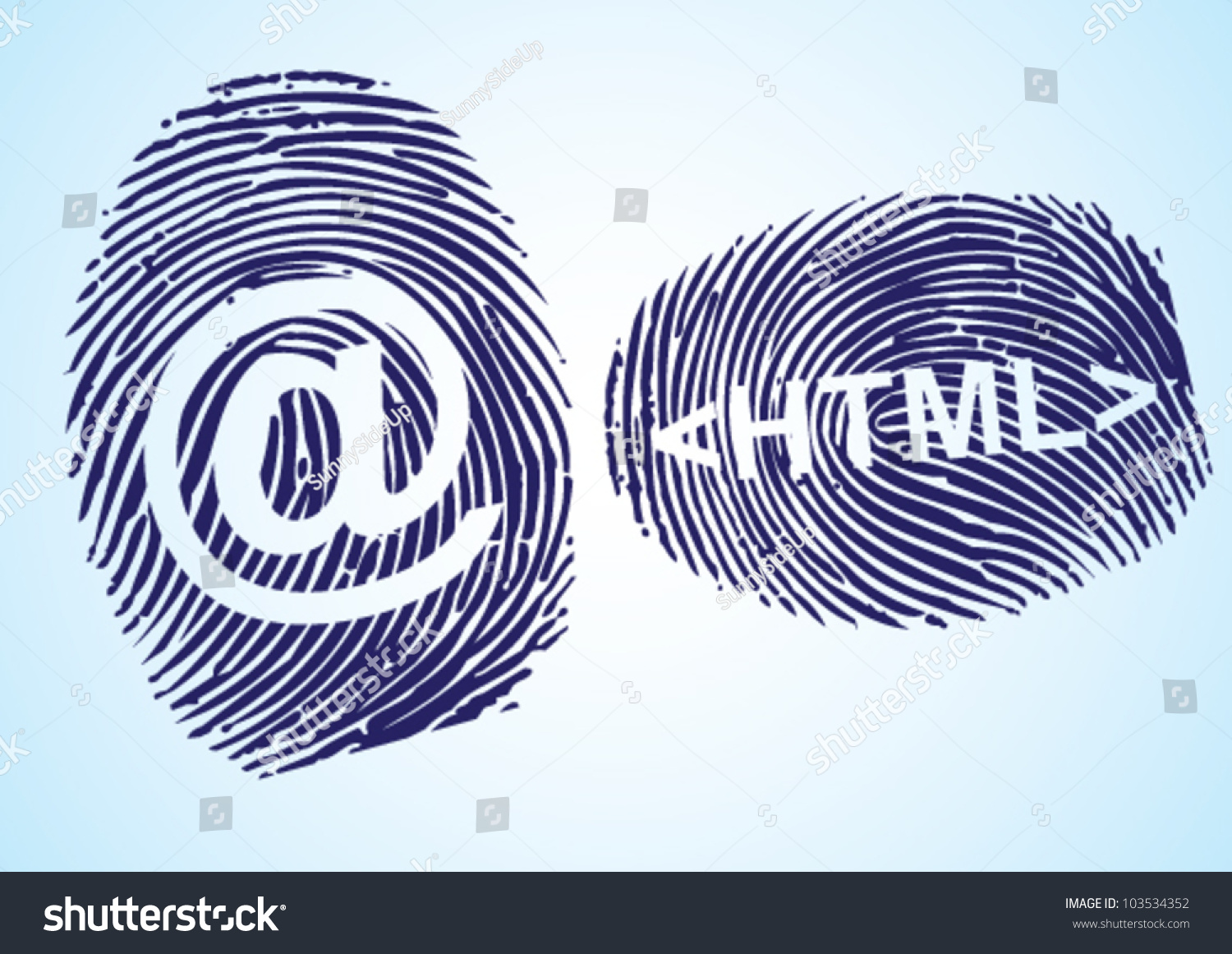 Html E Mail Symbol Thumbprint Stock Vector Royalty Free 103534352