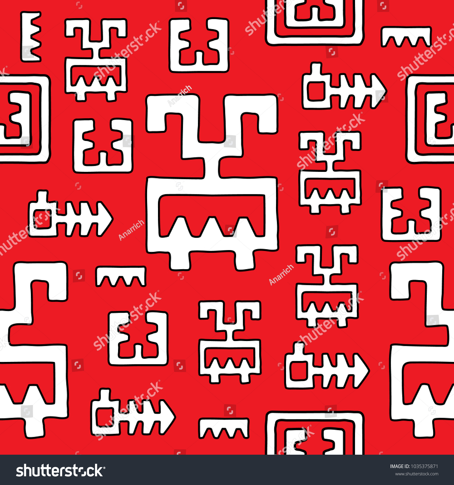 Abstract Seamless Pattern Ancient Mexican Symbols Stock Vector