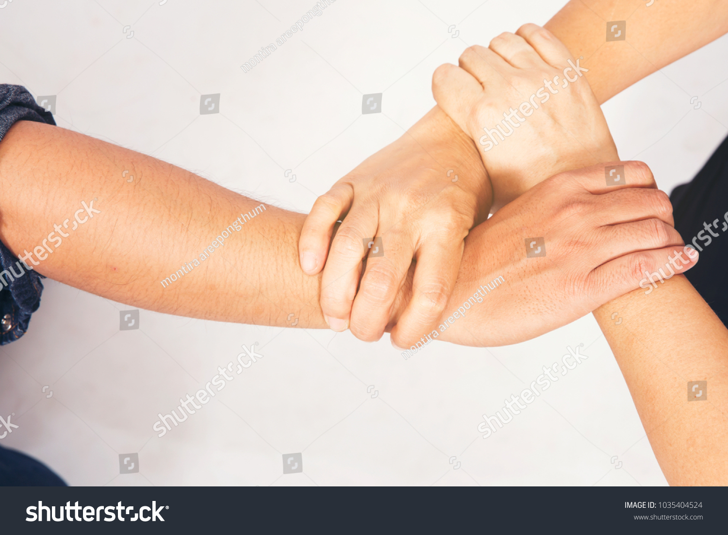 Three Hand Hold Together Like Triangle Stock Photo Edit Now