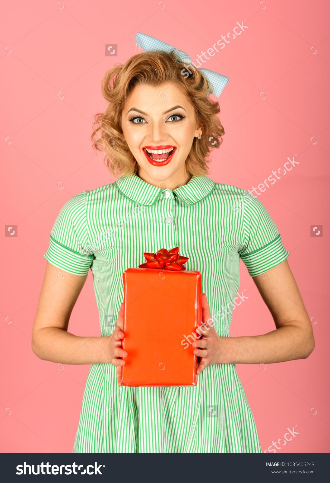Retro Woman Present Box Pinup Sexy Stock Photo Edit Now 1035406243