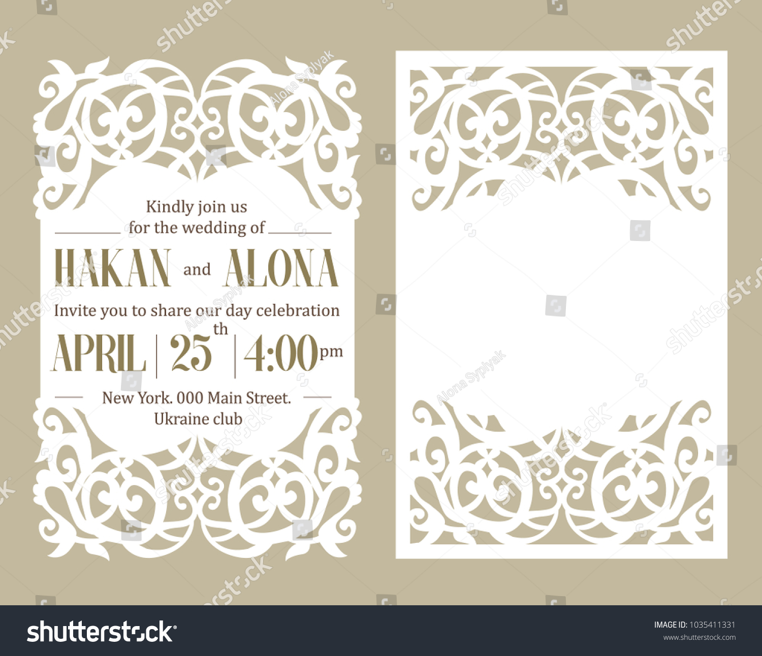 Luxury Invite Card Laser Cutting White Stock Vector (Royalty Free ...
