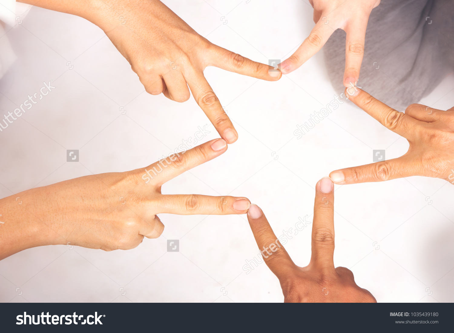 Five Hands Ten Fingers Touch Together Stock Photo Edit Now