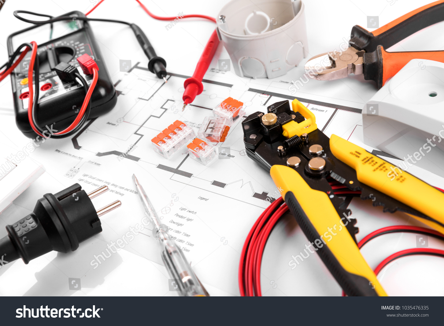 electrical tools and equipment on house wiring plan