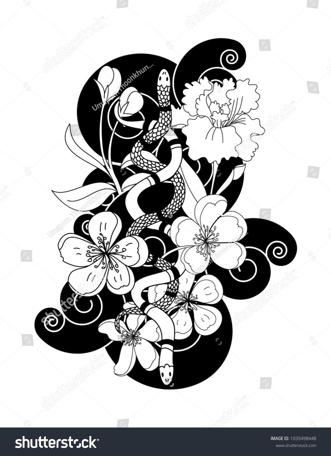 Black White Snake Vector Flower Japanese Stock Vector 1035498448