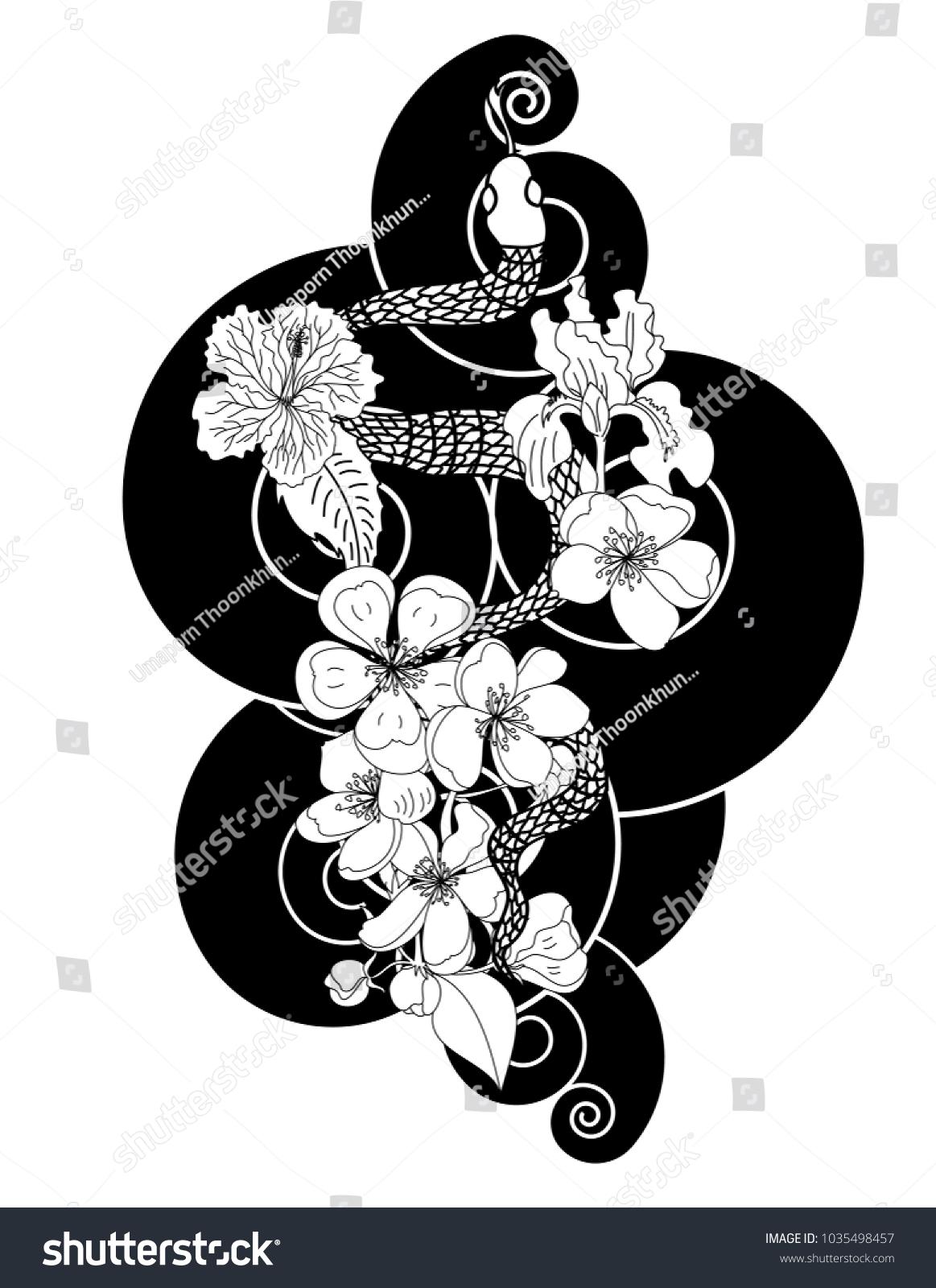 Black White Snake Vector Flower Japanese Stock Vector Royalty Free