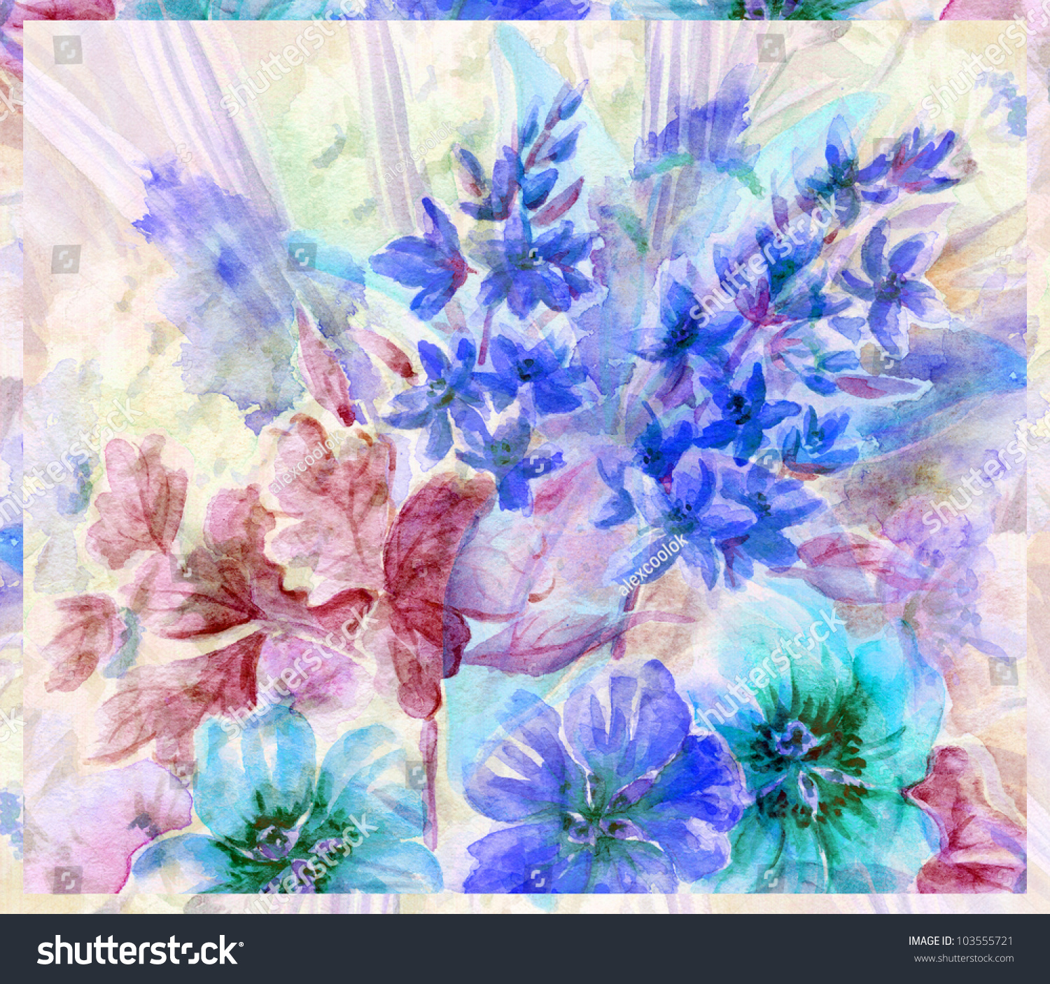Picture, Abstract Flowers Hand Draw Water Colour On A Paper