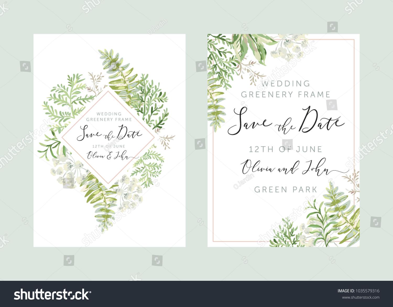 wedding greenery diamond frame save date のベクター画像素材