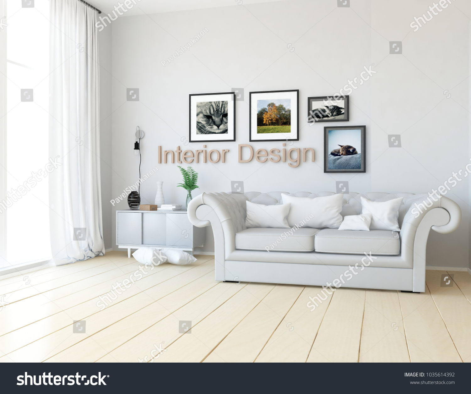 Idea White Scandinavian Living Room Interior Stock Illustration ...