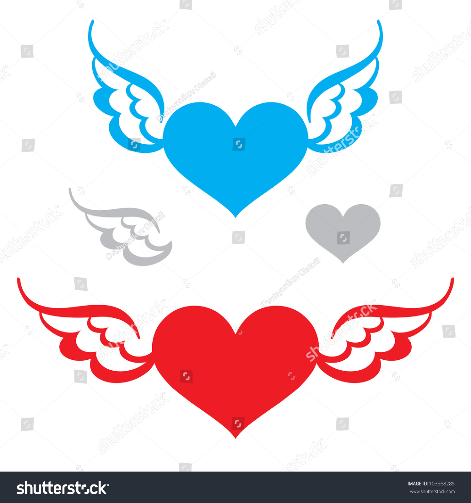 Heart Wings Flying Symbol Love Freedom Stock Vector Royalty Free