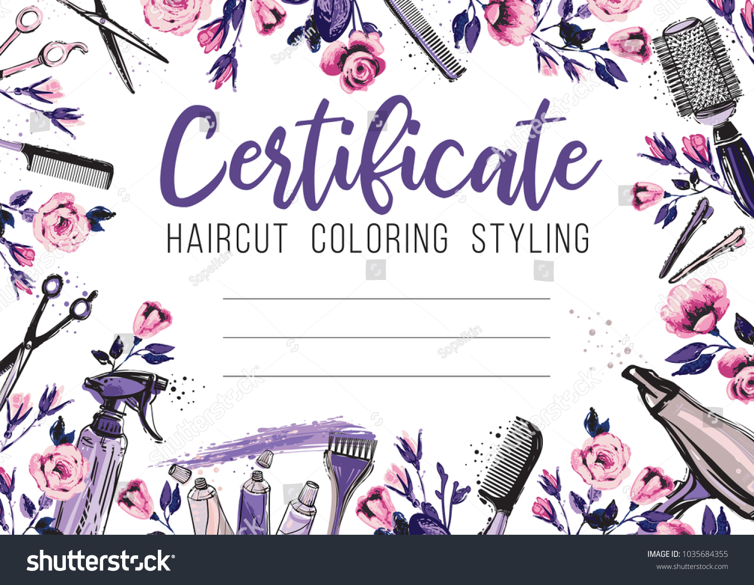 Hair Cut Rose Flower Hairdressing Business Stock Vector 1035684355 ...
