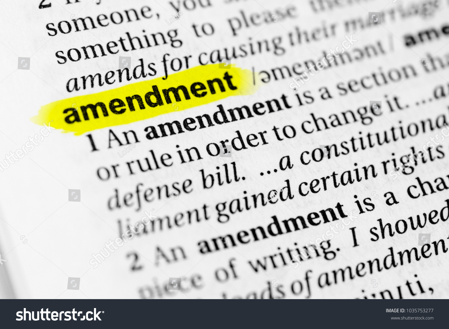 highlighted english word amendment definition dictionary stock photo