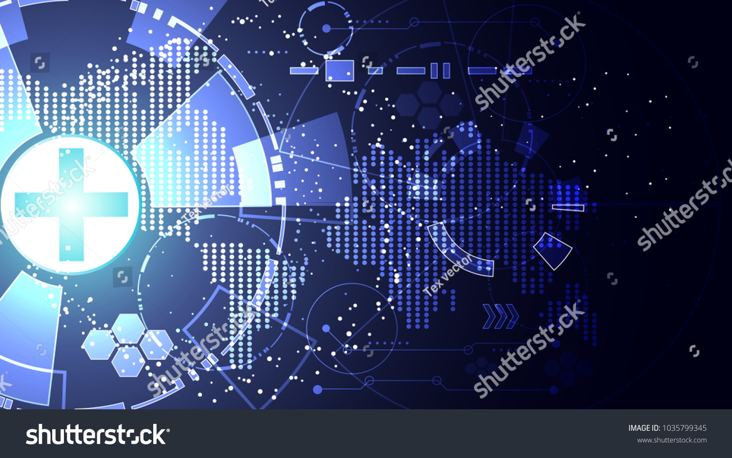 Abstract Technology Background Concept Health Plus Blue Light And Map Dot Circle Graphic System Wallpaper