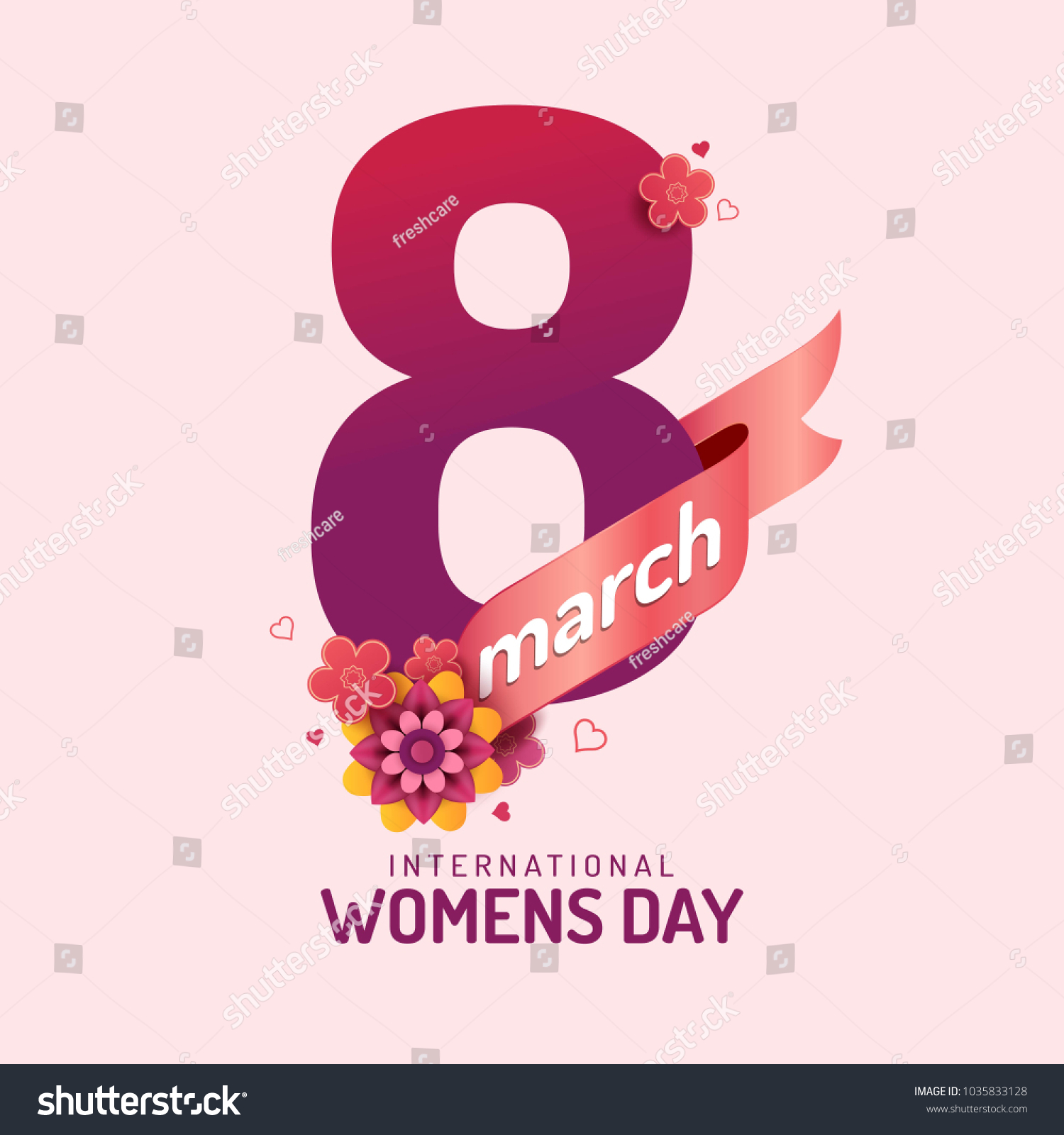 Happy Womens Day Vector Illustration Decorative Stock Frescare With Flower And Text 8 March Beautiful Moment