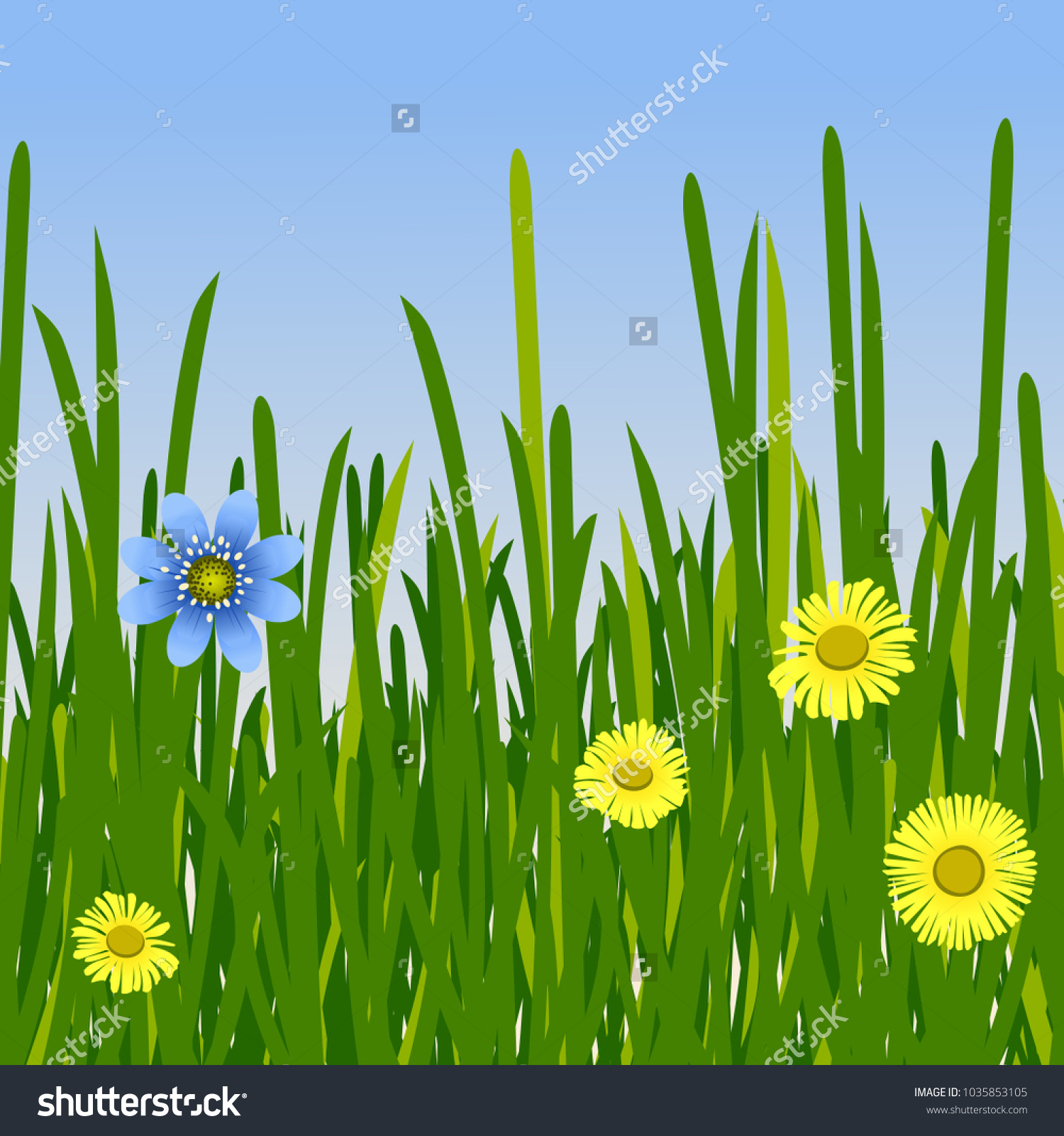 Spring Yellow Blue Flowers Green Tall Stock Vector Royalty Free