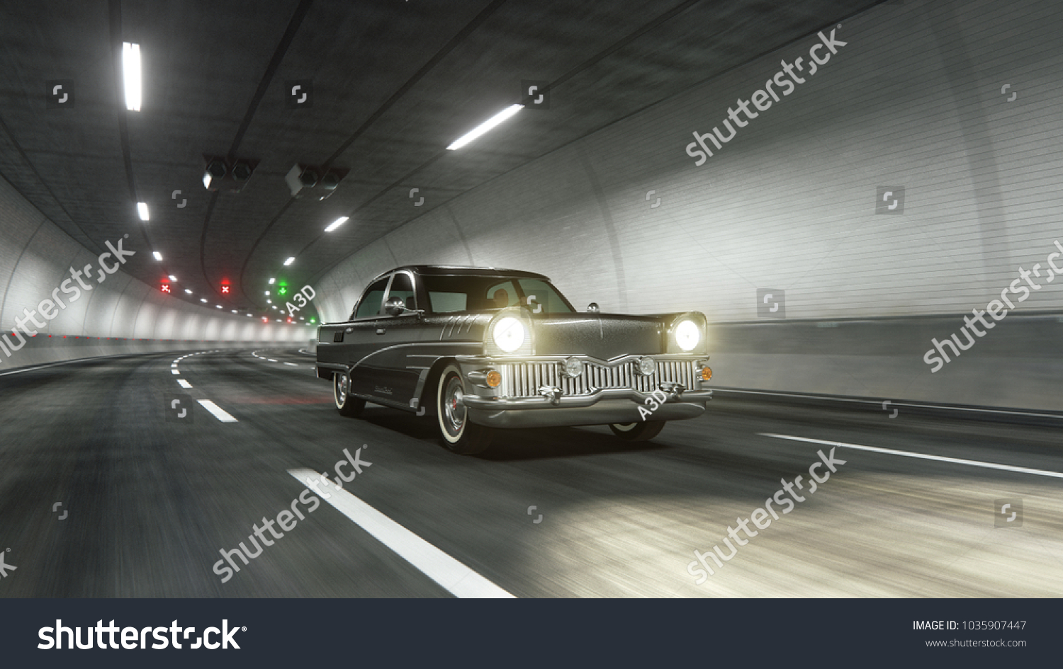 Oldstyle Classic Car Rides Trough Tunnel Stock Illustration ...