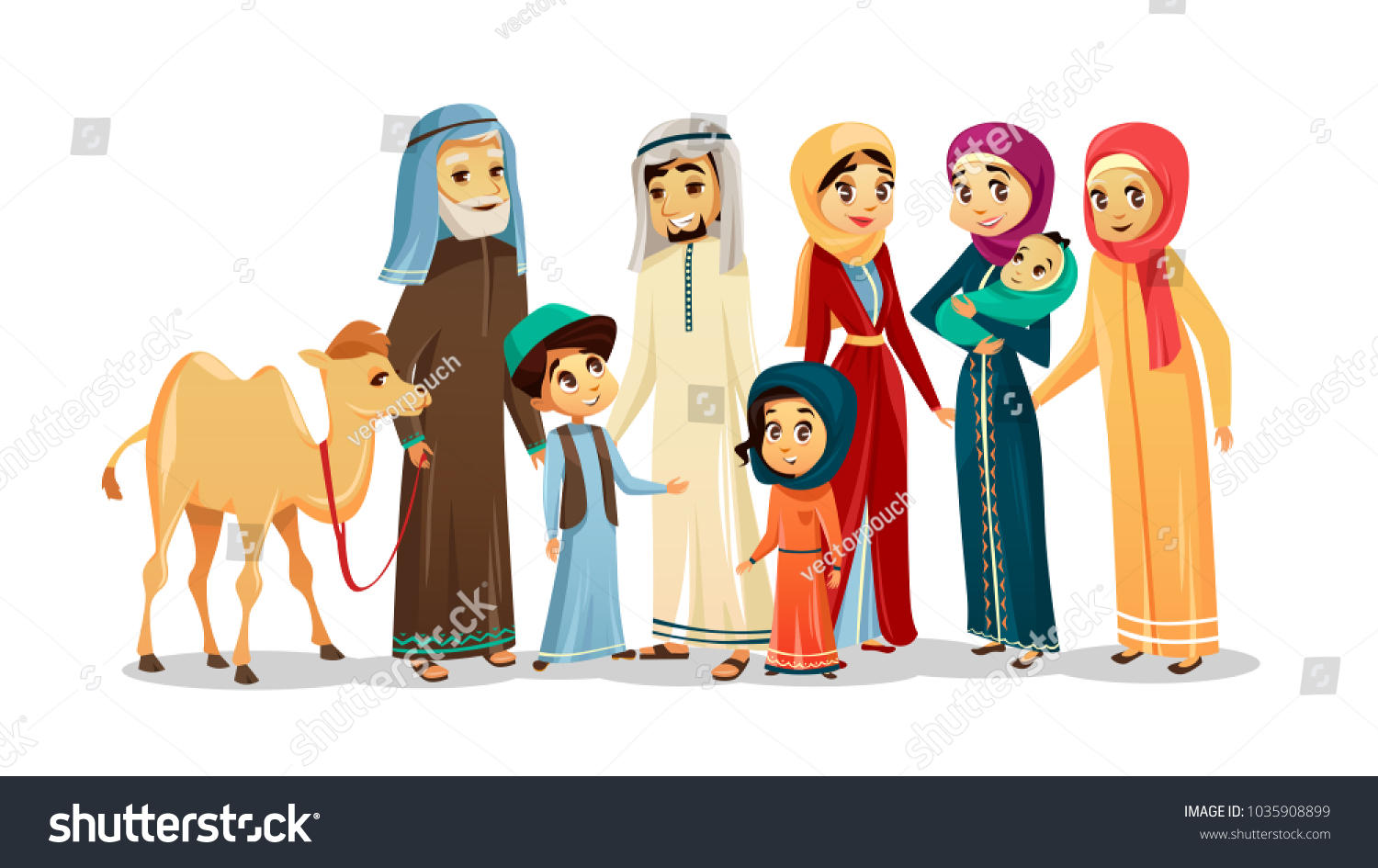 Vector cartoon arab family characters set happy saudi emirates muslim senior man holding camel