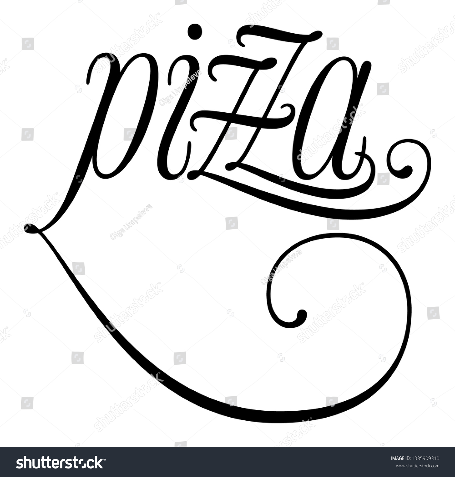 elegant word pizza lettering calligraphy cursive stock vector