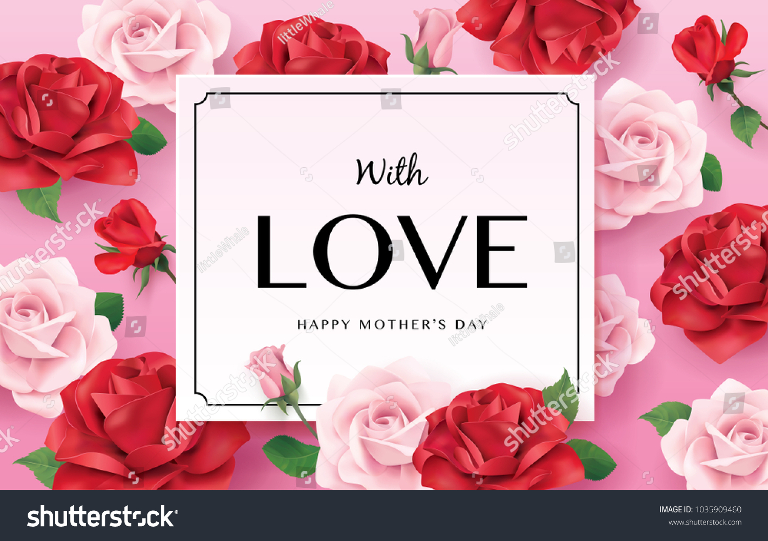 Happy Mothers Day Greetings Design Roses Stock Vector Royalty Free