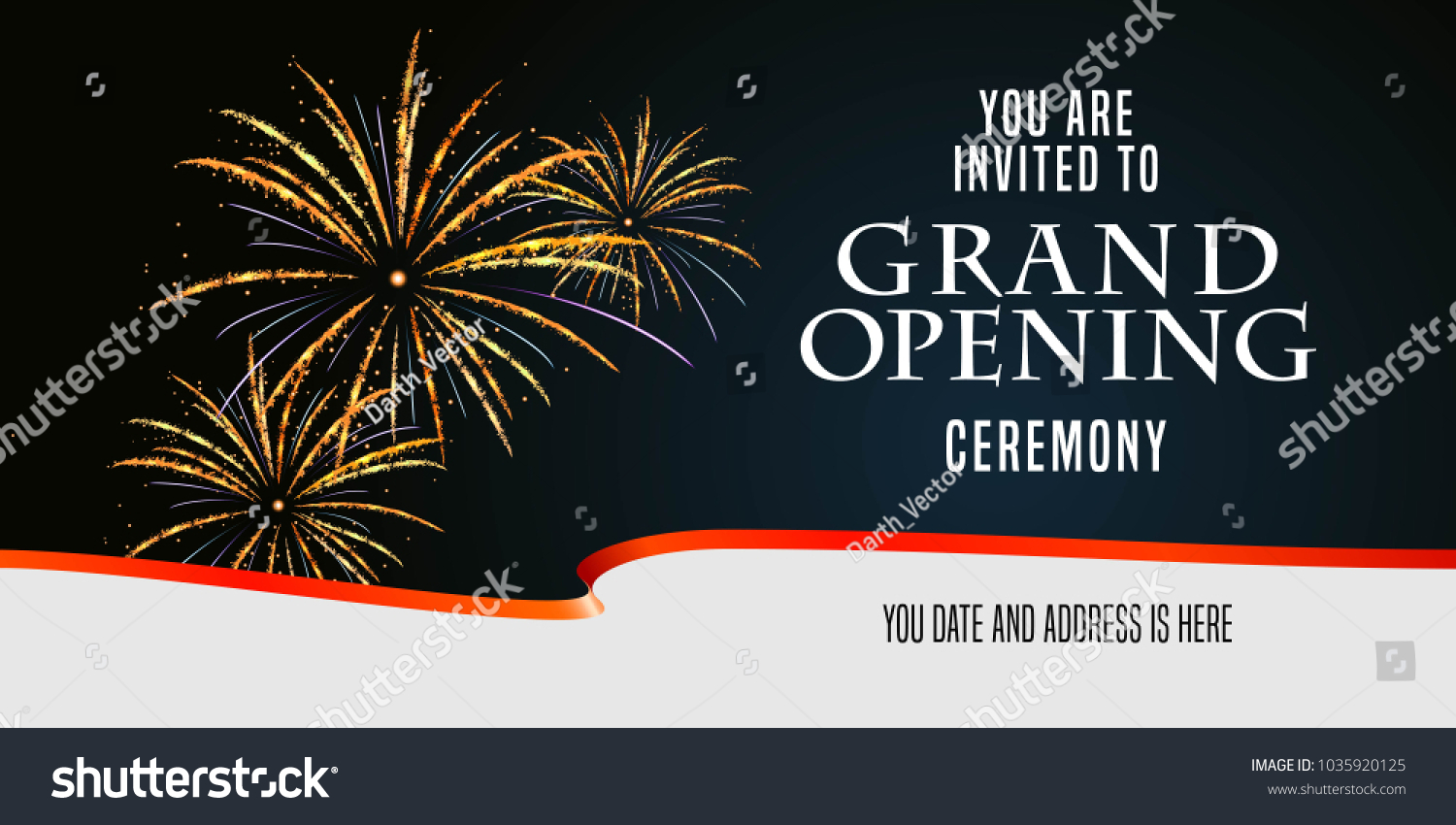 grand opening vector illustration background invitation card with firework and scissors cutting red ribbon