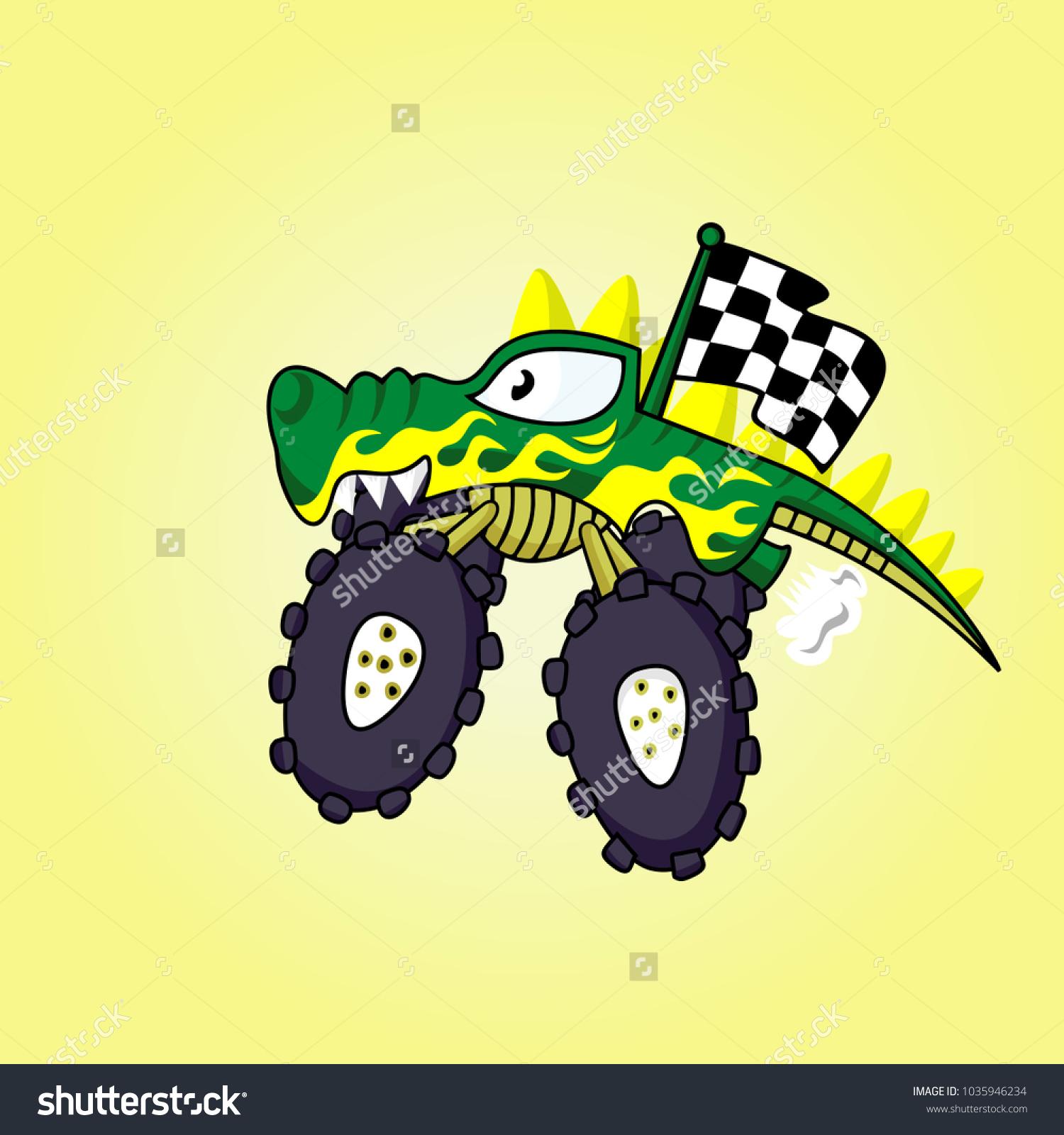 Cartoon Vector Crocodile Monster Truck Stock Vector (Royalty Free ...