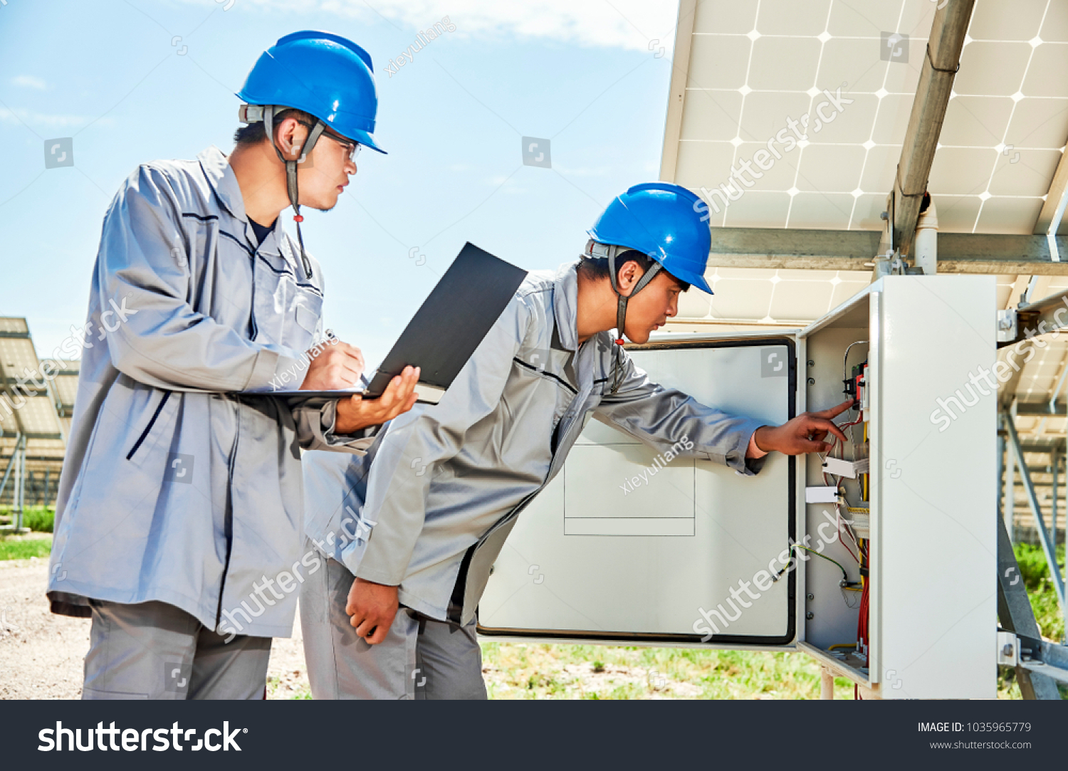 Chinese Workers Open Electrical Box Check Stock Photo Edit Now China Circuit Breaker The To Solar Photovoltaic Power Generation Outdoors
