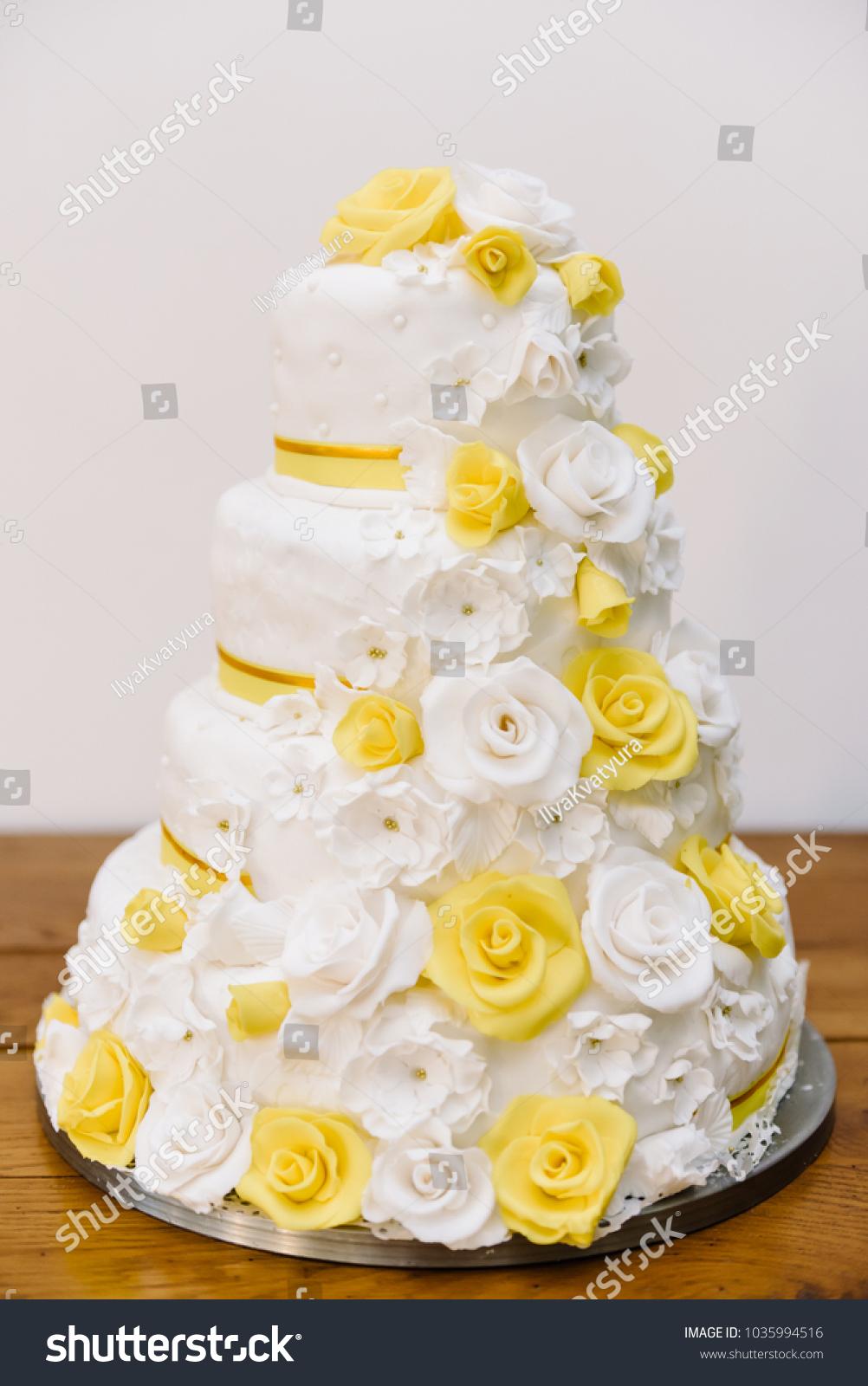 Wedding Cake Large Size Yellow Roses Stock Photo (Edit Now ...