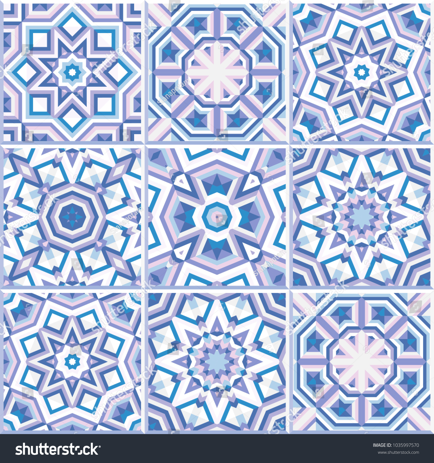 Set 9 Patterned Floor Tiles Abstract Stock Vector (Royalty Free ...