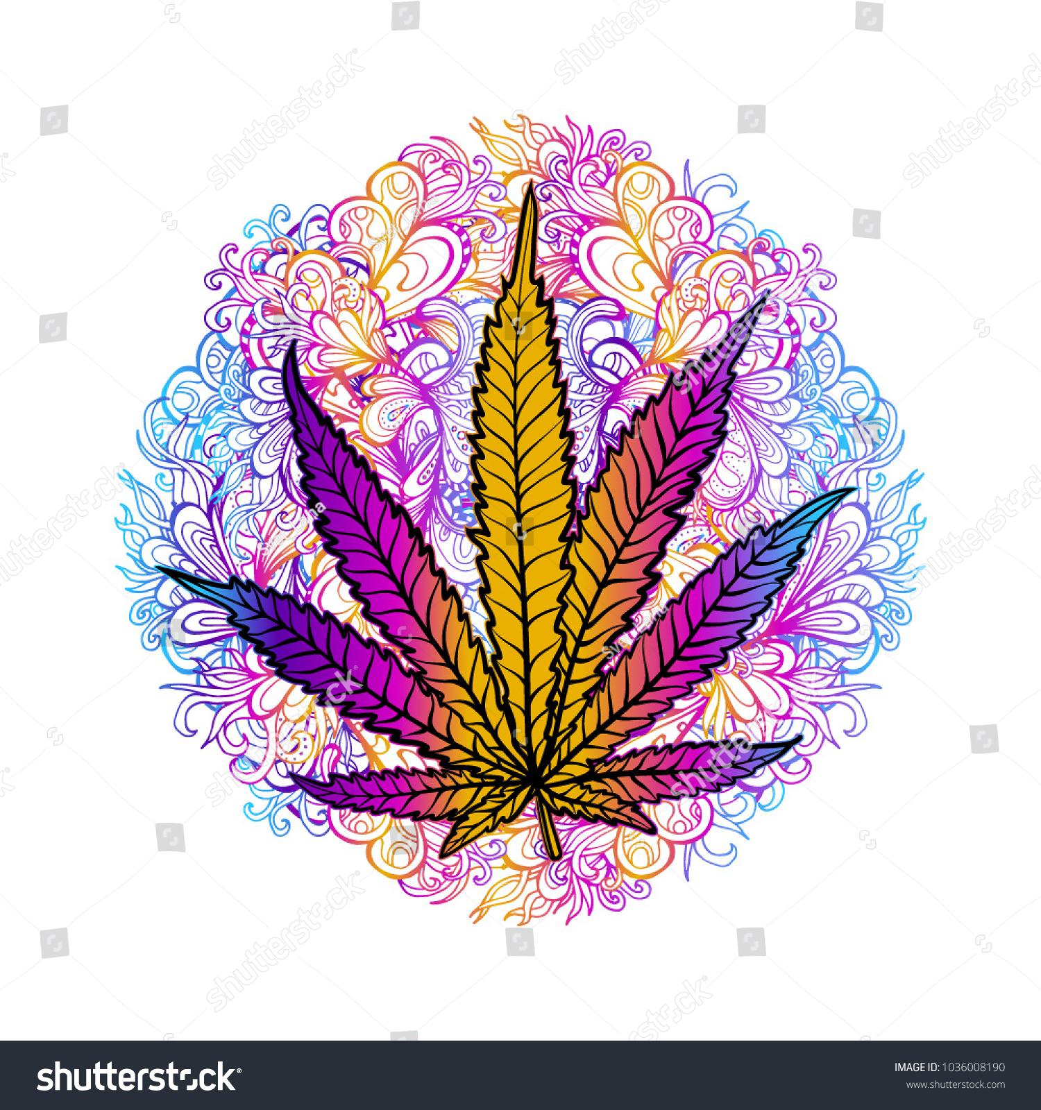 Sheet Cannabis Leaf Marijuana Herb Weed Stock Vector Royalty Free