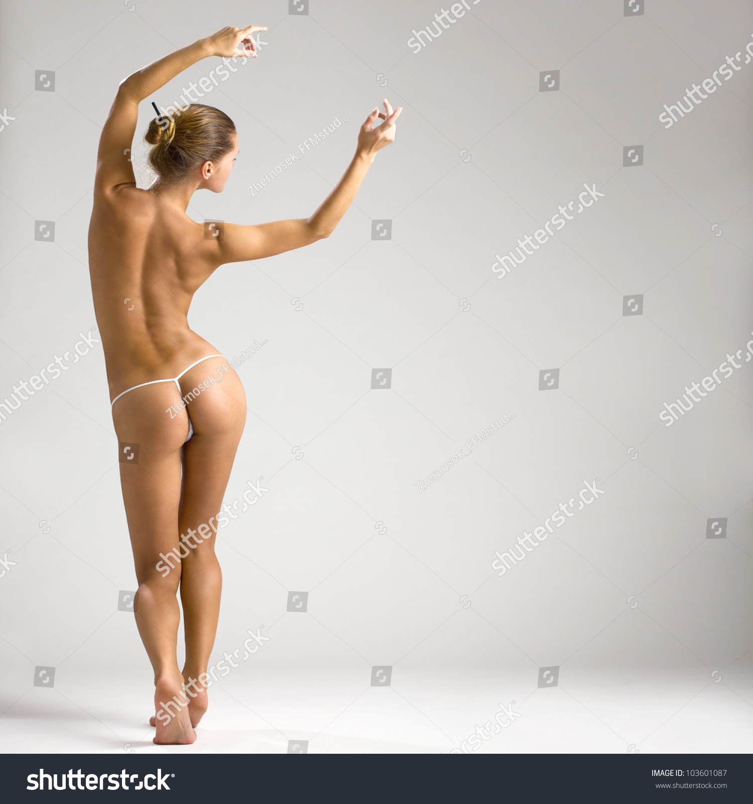 stock photo amazed young naked woman standing
