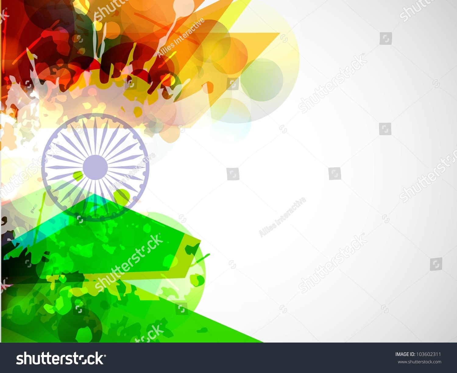Creative Watercolor Indian Flag Background For Indian: Creative Indian Flag Color Background Wave Stock Vektor