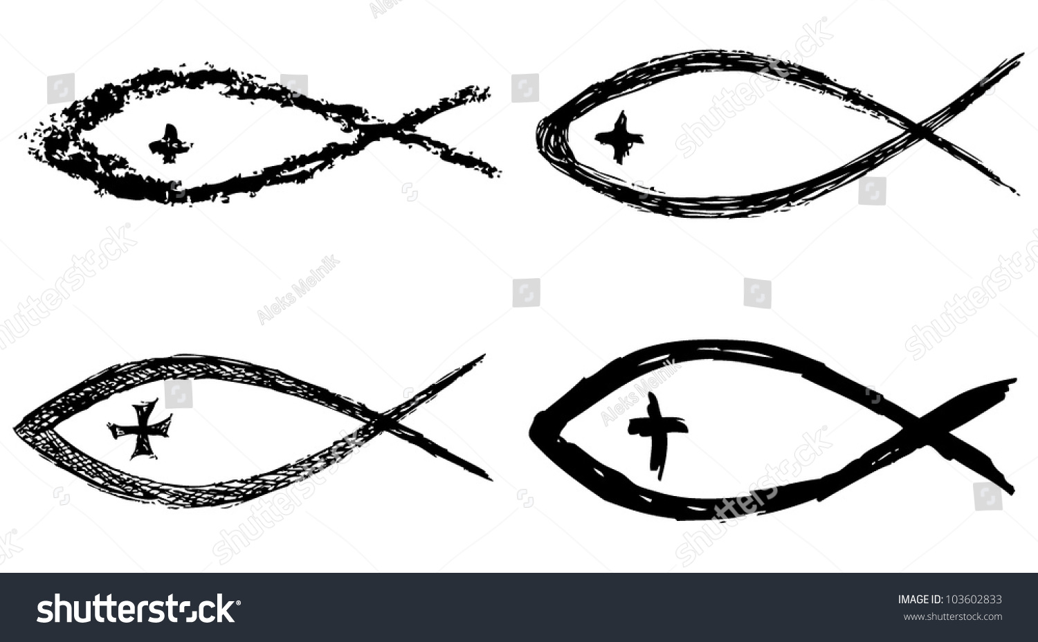 Christian fish symbol cross vector stock vector 103602833 shutterstock christian fish symbol with cross vector buycottarizona Gallery