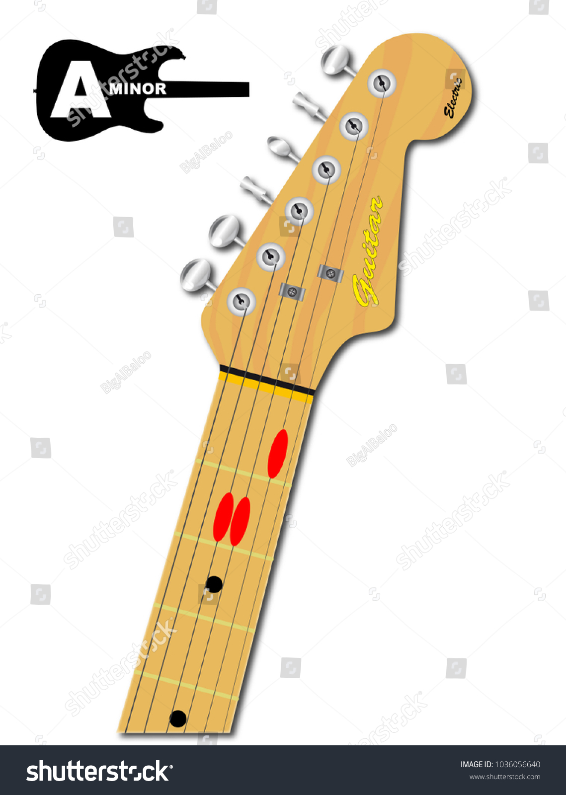 Electric Guitar Neck Chord Shape Minor Stock Illustration 1036056640