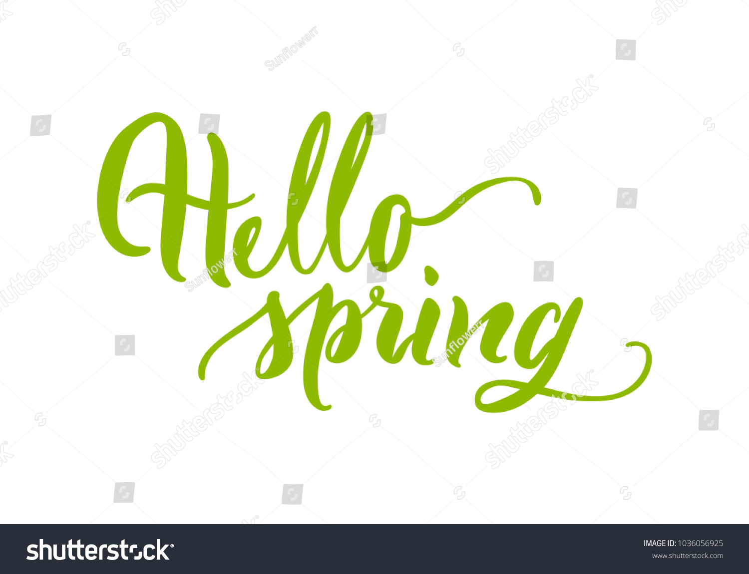 Card lettering hello spring green flat stock vector 1036056925 card lettering hello spring green flat greeting inscription for season of year kristyandbryce Image collections
