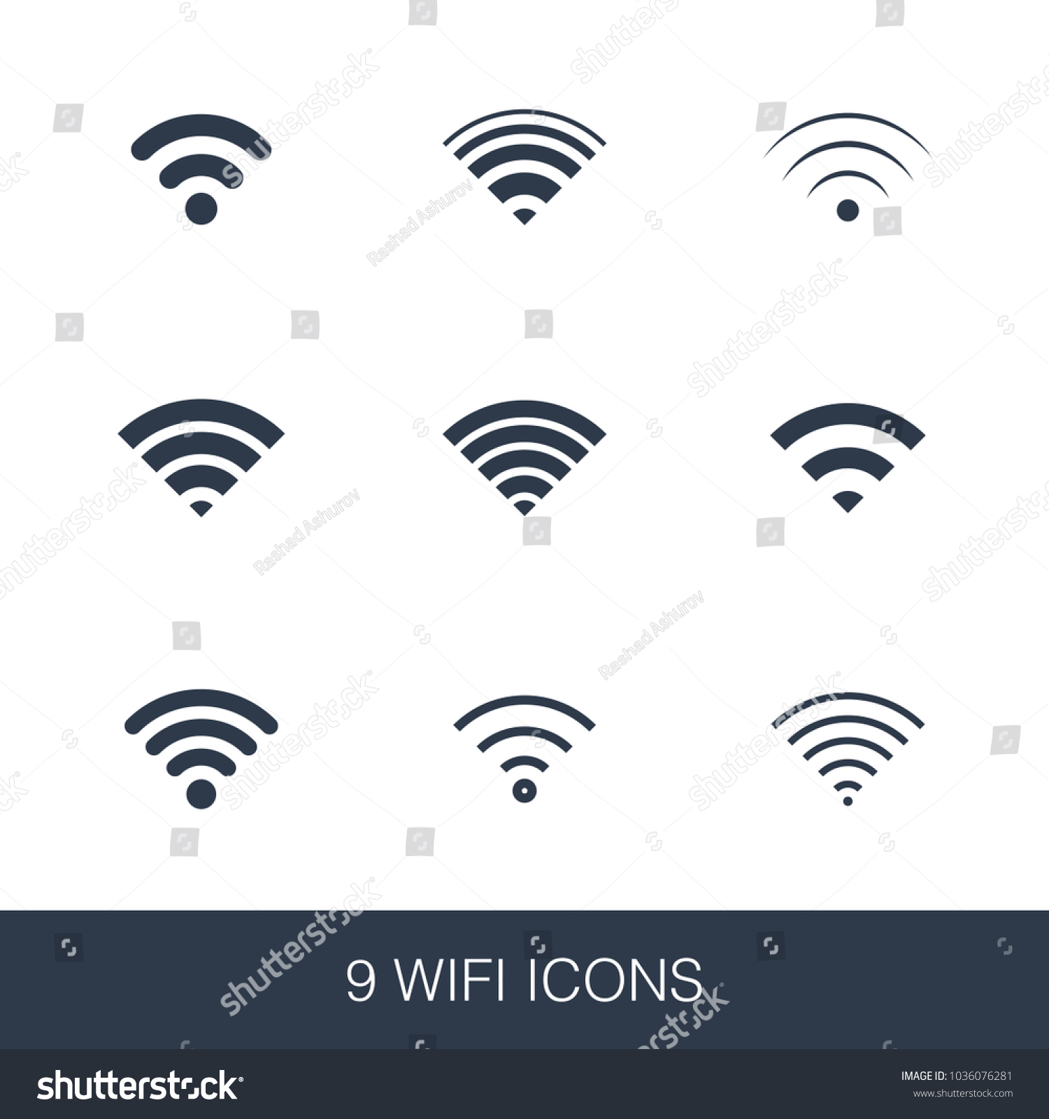 Wifi Icons Set Simple Design Glyph Stock Vector Royalty Free