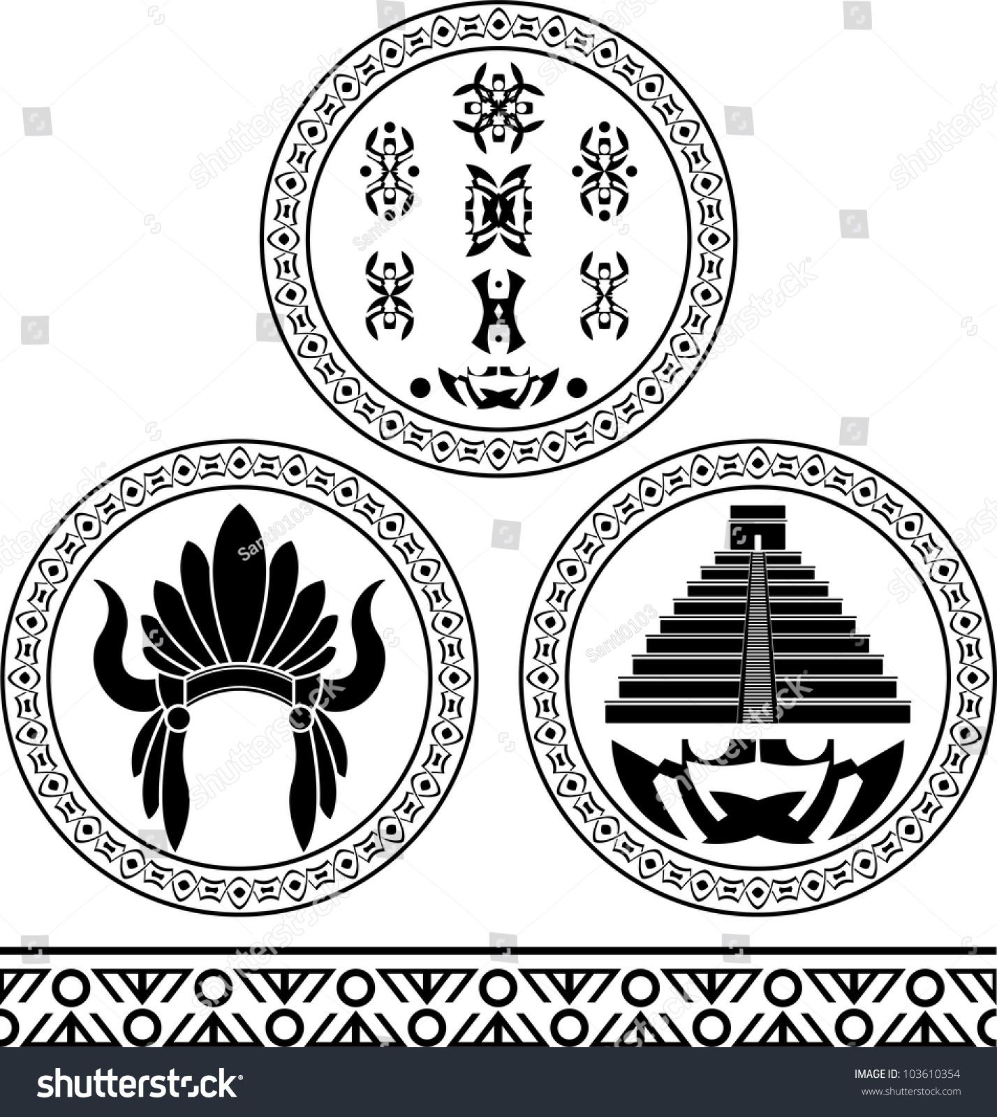 Mayan Signs Headdress Pyramid Pattern Stencils Stock Vector