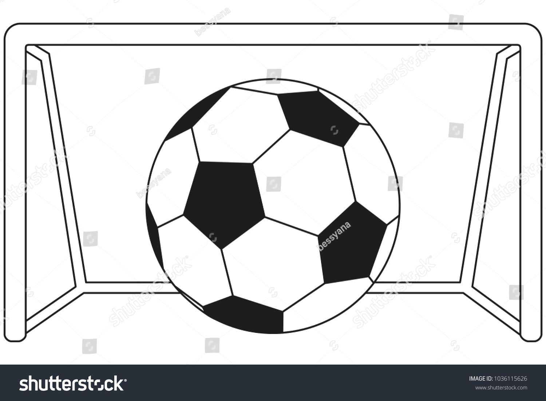 Line art black and white soccer football game goal icon poster sport vector illustration for
