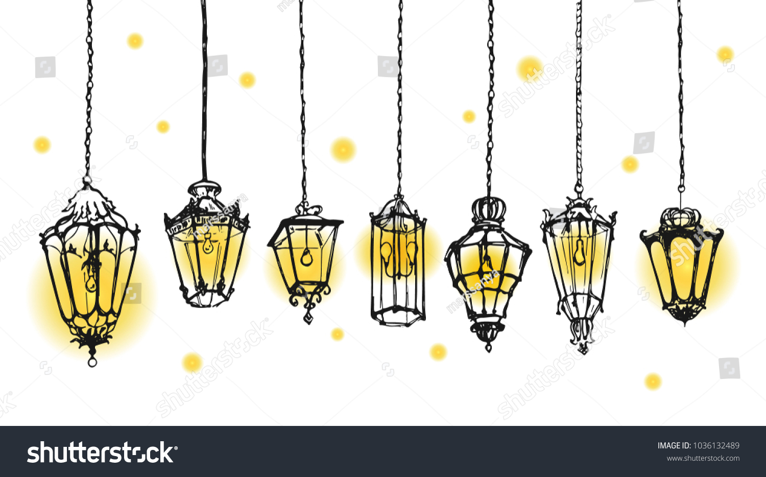 Affordable Old Lanterns Sketch Collection Hand Drawn Street Lamps Retro Vintage Lamp Drawing With Lantern