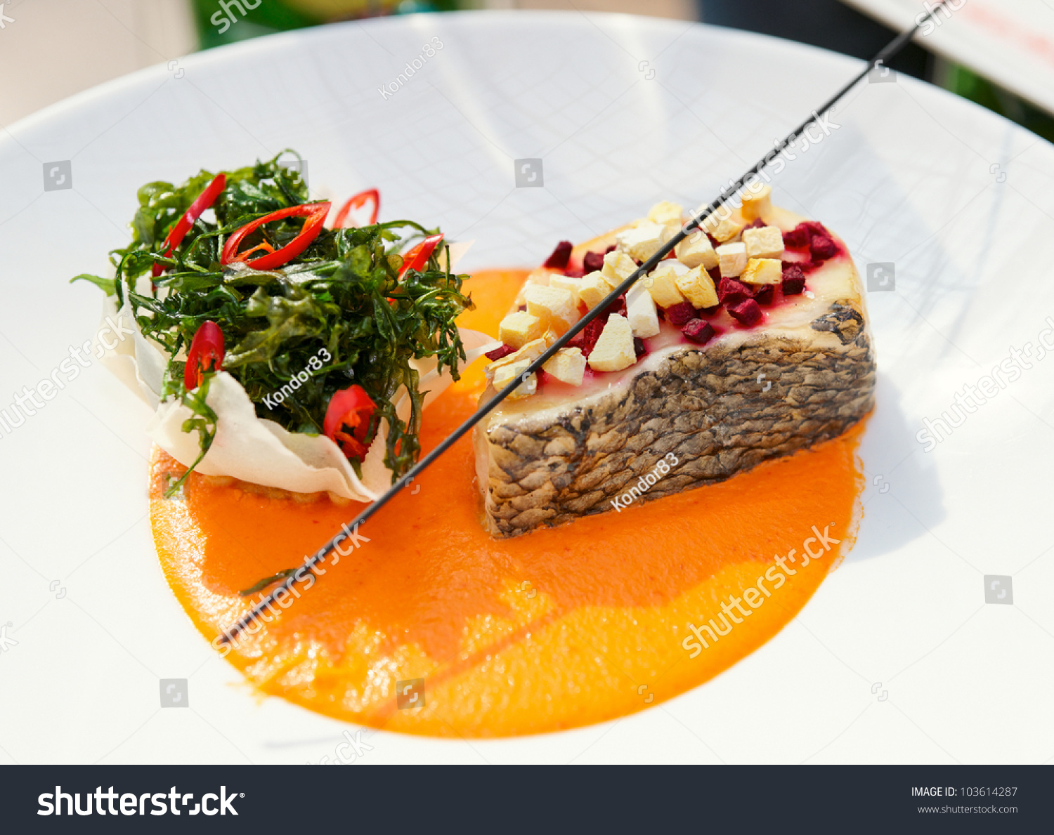 Seabass haute cuisine dish herbs vegetable stock photo - French haute cuisine dishes ...