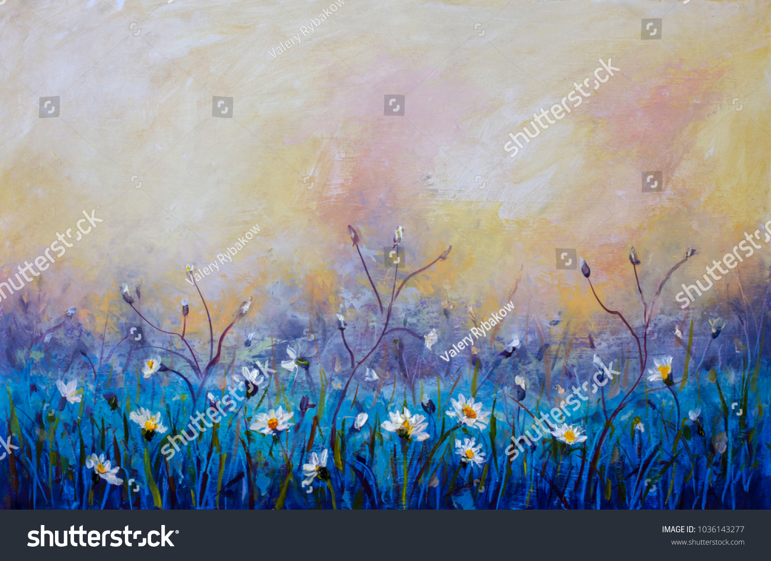 Flowers Oil Painting Wildflowers Chamomile Small Stock Illustration
