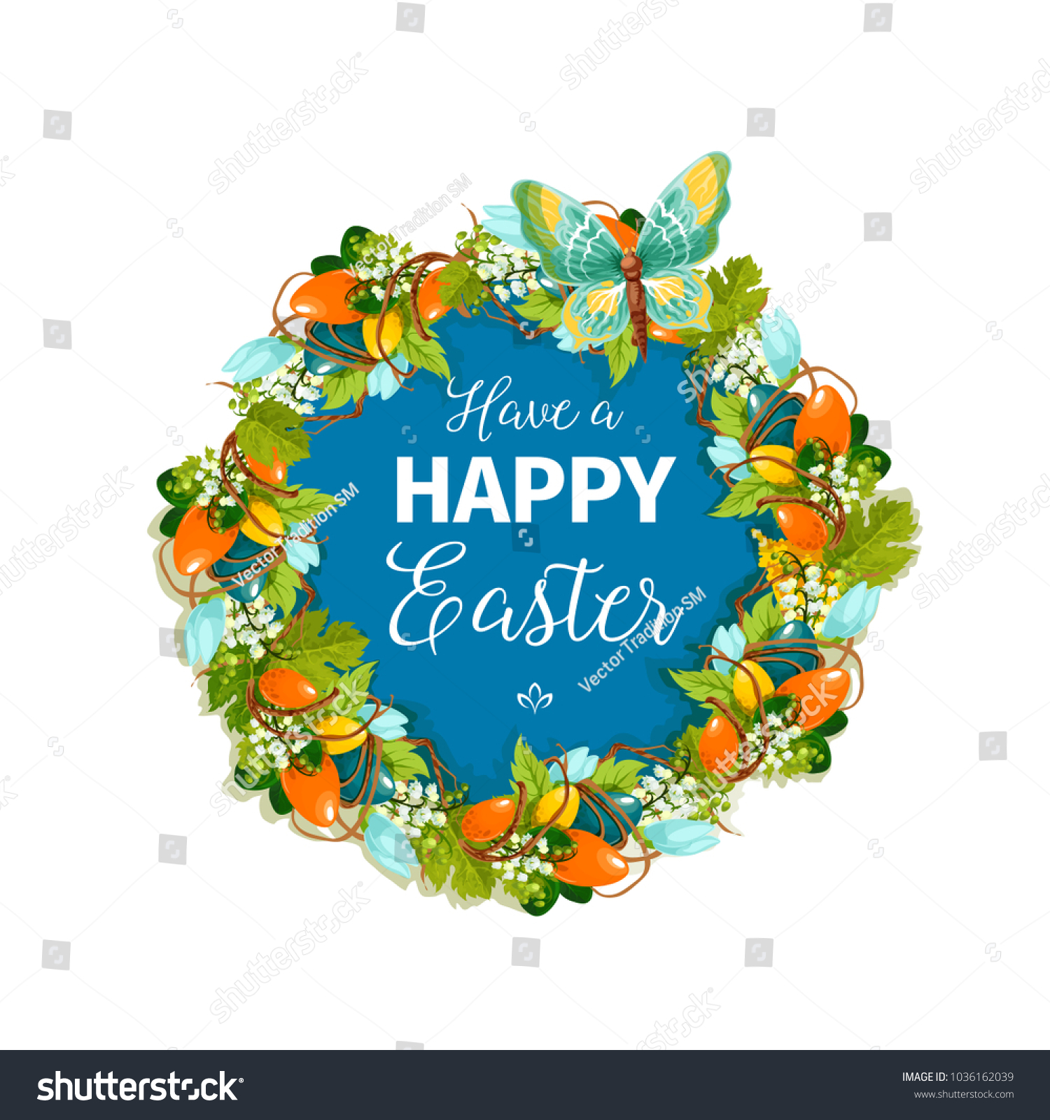 Happy Easter Greeting Card Poster Christian Stock Vector Royalty