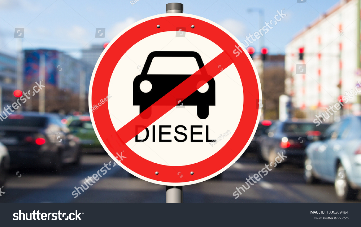 Street Sign Diesel Driving Ban Cars Stock Photo (Safe to Use ...
