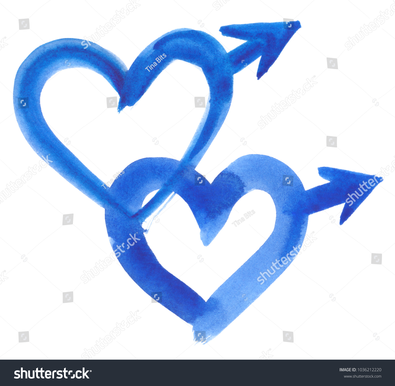 Two Heart Shaped Blue Male Symbols Stock Illustration 1036212220