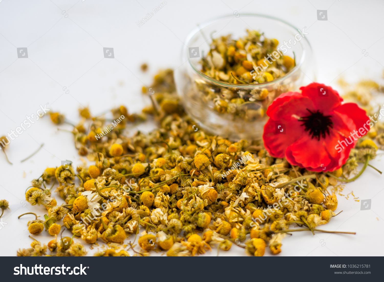 Pile Camomile Tea Poppy Flower Stock Photo Edit Now 1036215781