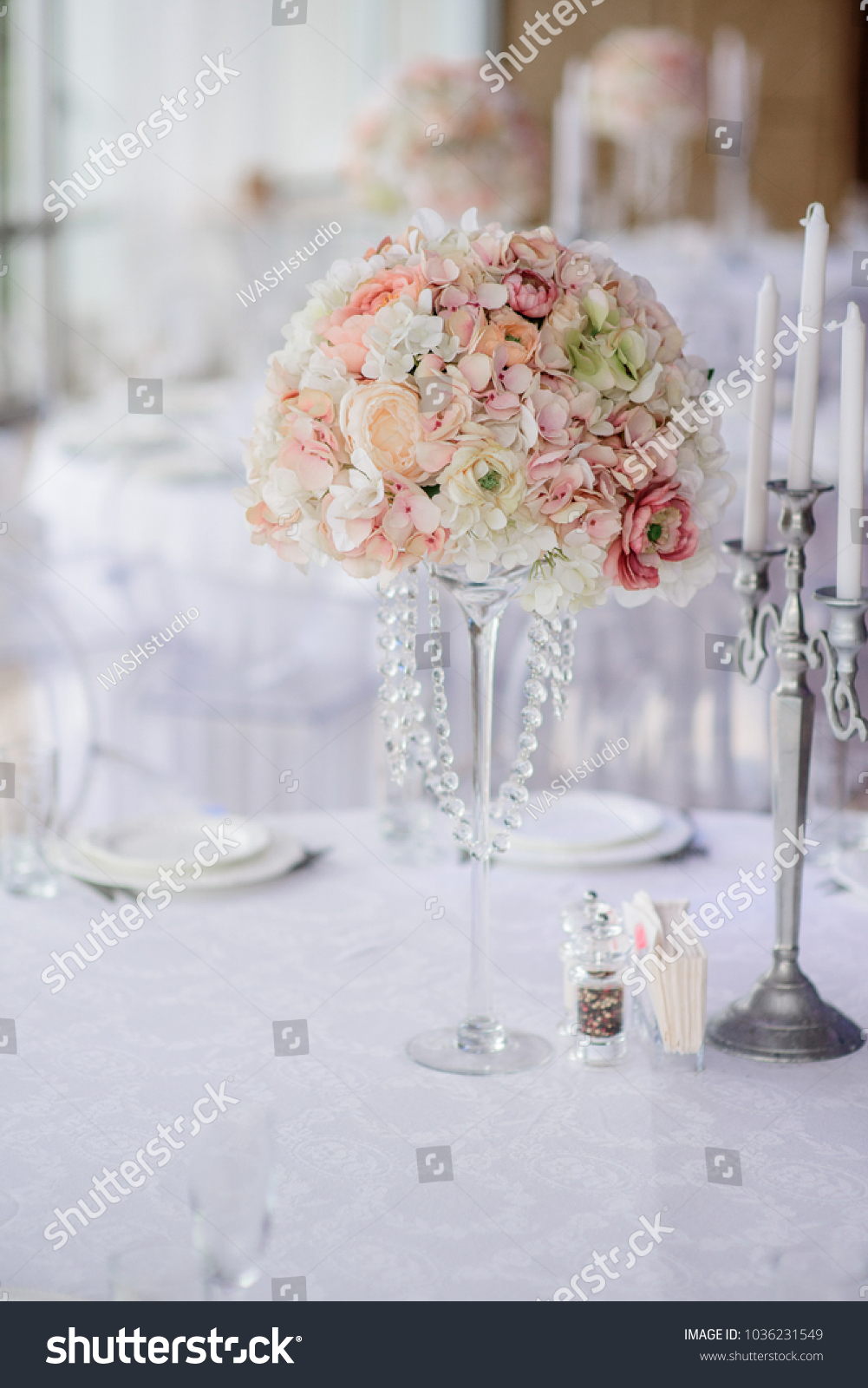Centerpiece Made Pink White Flowers Stands Stock Photo (Royalty Free ...