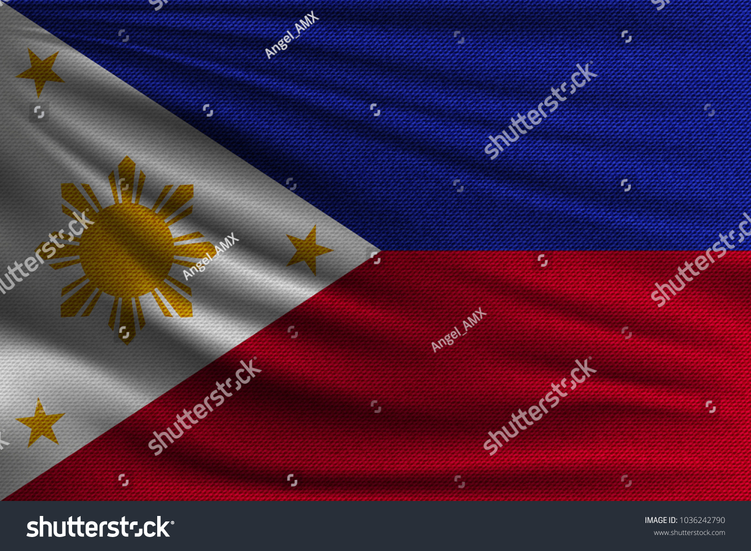 National flag philippines symbol state on stock vector 1036242790 the national flag of philippines the symbol of the state on wavy cotton fabric buycottarizona Images
