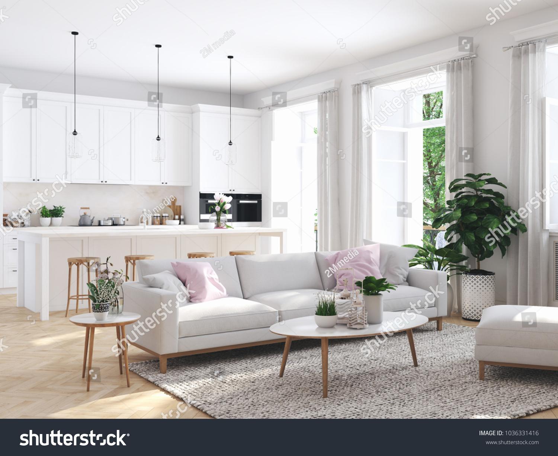 3d Rendering Modern Living Room Townhouse Stock Illustration ...